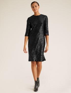 Kadın Siyah Payetli Shift Elbise