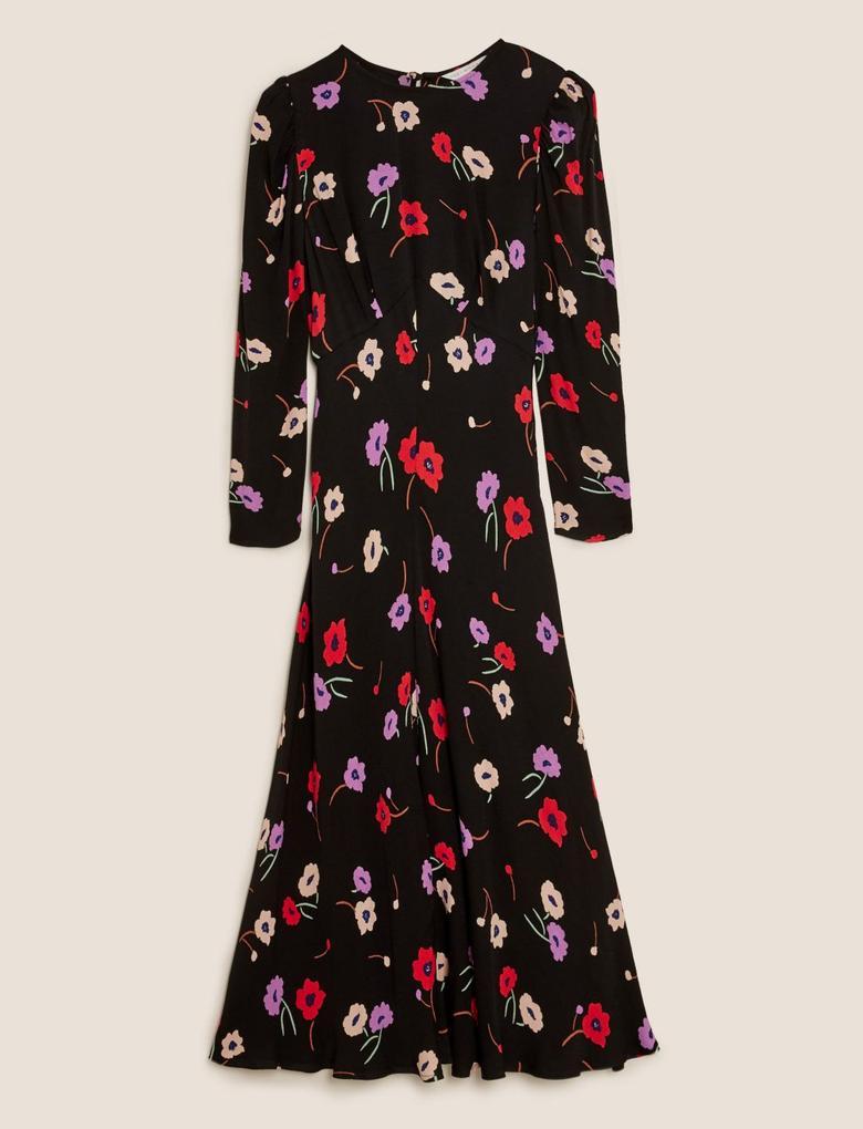 Kadın Siyah Çiçek Desenli Maxi Elbise