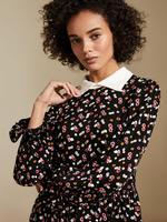 Kadın Siyah Gömlek Yaka Desenli Elbise
