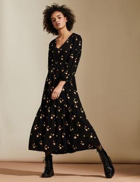 Kadın Siyah Yıldız Desenli V Yaka Elbise