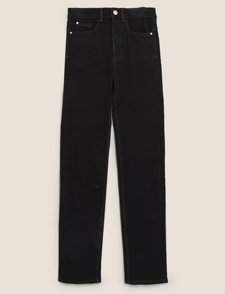 Kadın Siyah Şekillendirici Straight Leg Jean Pantolon