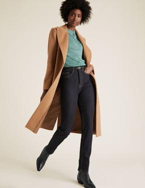 Kadın Lacivert Şekillendirici Straight Leg Jean Pantolon