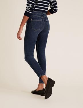 Kadın Lacivert Şekillendirici Yüksek Bel Skinny Jean Pantolon