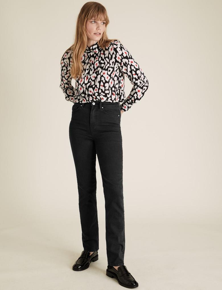 Kadın Siyah Streç Straight Leg Jean Pantolon