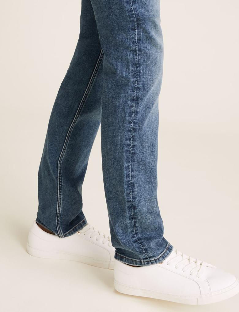 Kadın Mavi Streç Straight Leg Jean Pantolon