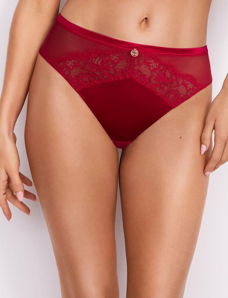 Kadın Kırmızı İpek Karışımlı Dantelli High Leg Külot