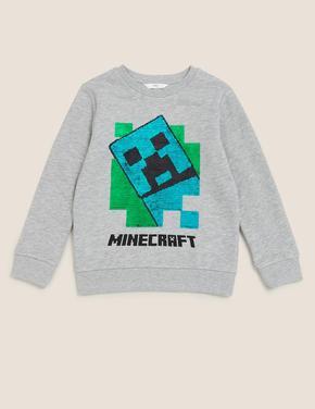 Erkek Çocuk Gri Minecraft™ Değişen Pullu Sweatshirt