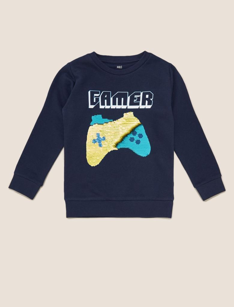 Erkek Çocuk Lacivert Değişen Pullu Grafik Sweatshirt