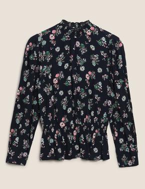 Kadın Lacivert Çiçek Desenli Dik Yakalı Bluz