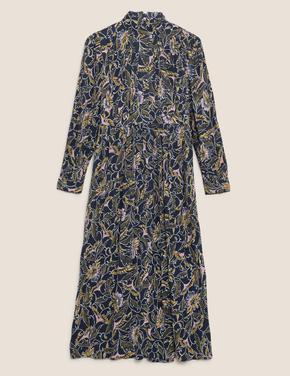 Lacivert Çiçek Desenli Waisted Elbise