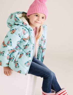 Kız Çocuk Mavi Kapüşonlu Kelebek Desenli Mont (Stormwear™ Teknolojisi ile)