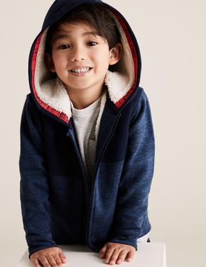 Erkek Çocuk Lacivert Suni Kürk Astarlı Kapüşonlu Sweatshirt