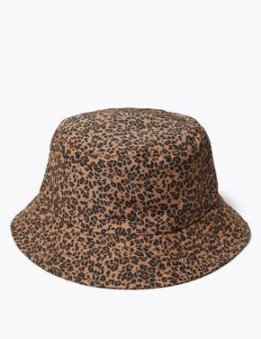 Kadın Bej Stormwear™ Leopar Desenli Bucket Şapka