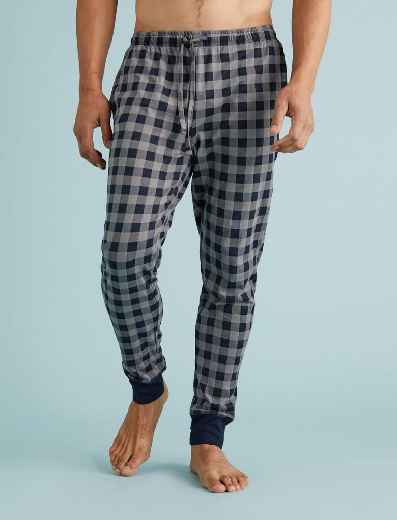 Erkek Kırmızı Ekose Jogger Pijama Altı