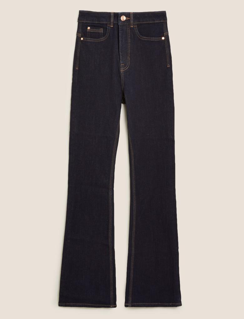 Kadın Koyu lacivert Şekillendirici Slim Flare Jean Pantolon