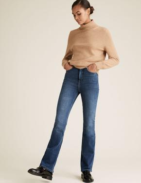 Kadın Lacivert Şekillendirici Slim Flare Jean Pantolon