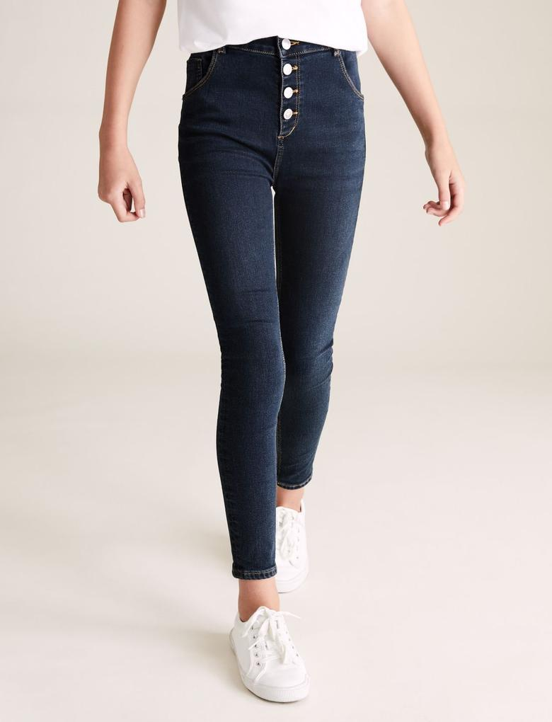 Kız Çocuk Mavi Yüksek Bel Skinny Jean Pantolon