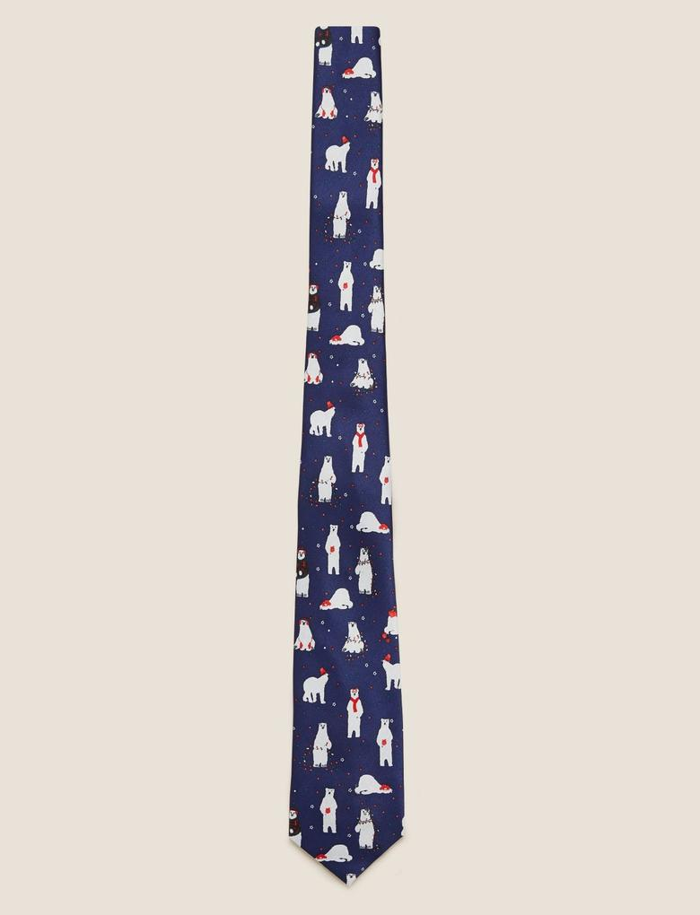 Lacivert Kutup Ayısı Desenli Kravat