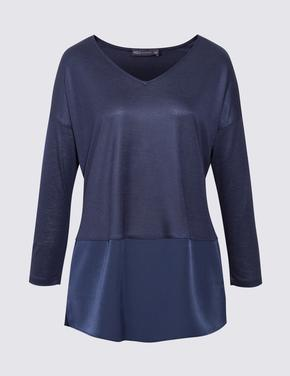 Kadın Lacivert V Yaka Bluz