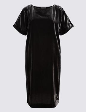 Gri Kadife Kısa Kollu Elbise