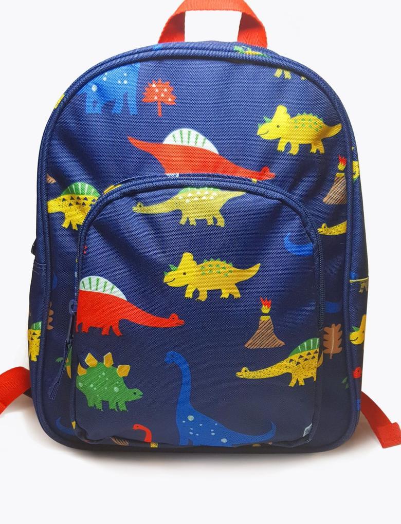 Çocuk Lacivert Su Geçirmez Dinozor Desenli Okul Çantası