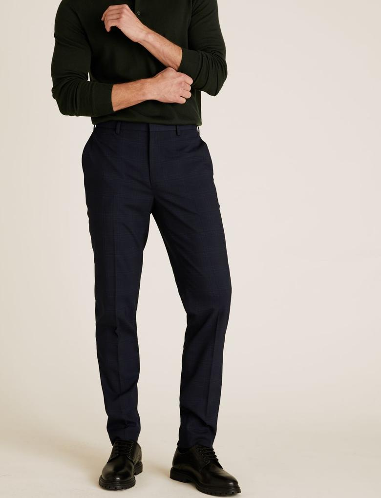 Lacivert Slim Fit Ekose Pantolon