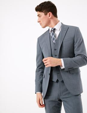 Erkek Mavi The Ultimate Yün Karışımlı Tailored Fit Ceket