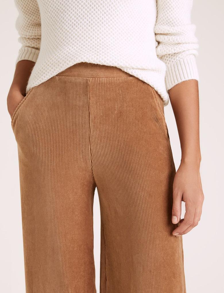 Kadın Kahverengi Kadife Wide Leg Pantolon