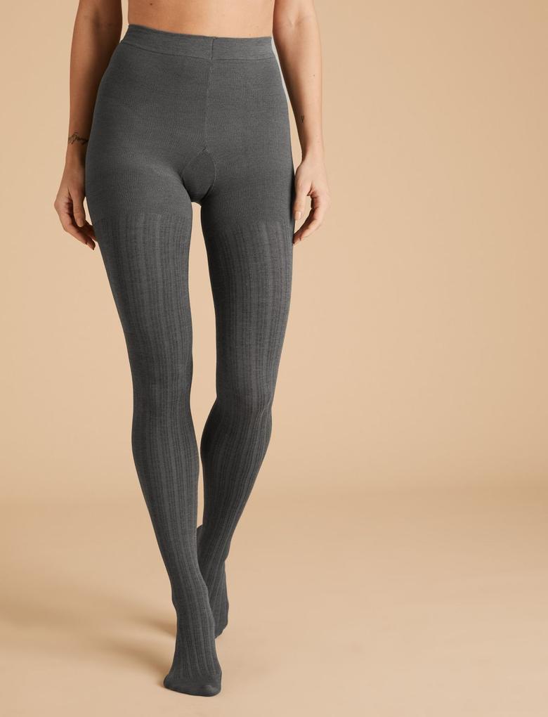 Kadın Gri 180 Denye Fitilli Opak Külotlu Çorap