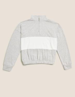 Kız Çocuk Gri Yarım Fermuarlı Sweatshirt