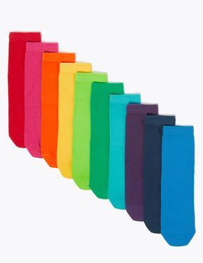 Çocuk Multi Renk 10'lu Gökkuşağı Renkli Çorap seti