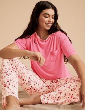 Kadın Pembe Leopar Desenli Pijama Takımı