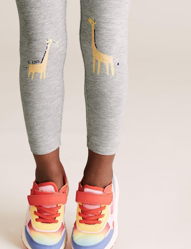 Kız Çocuk Gri Zürafa Desenli Tayt