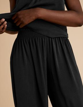 Kadın Siyah Saten Pijama Altı