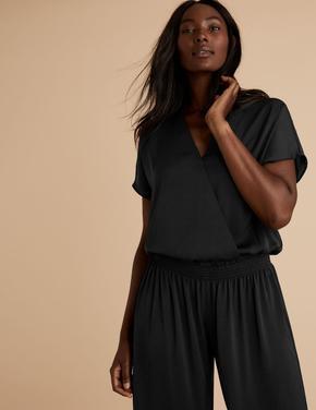 Kadın Siyah Saten V Yaka Pijama Üstü