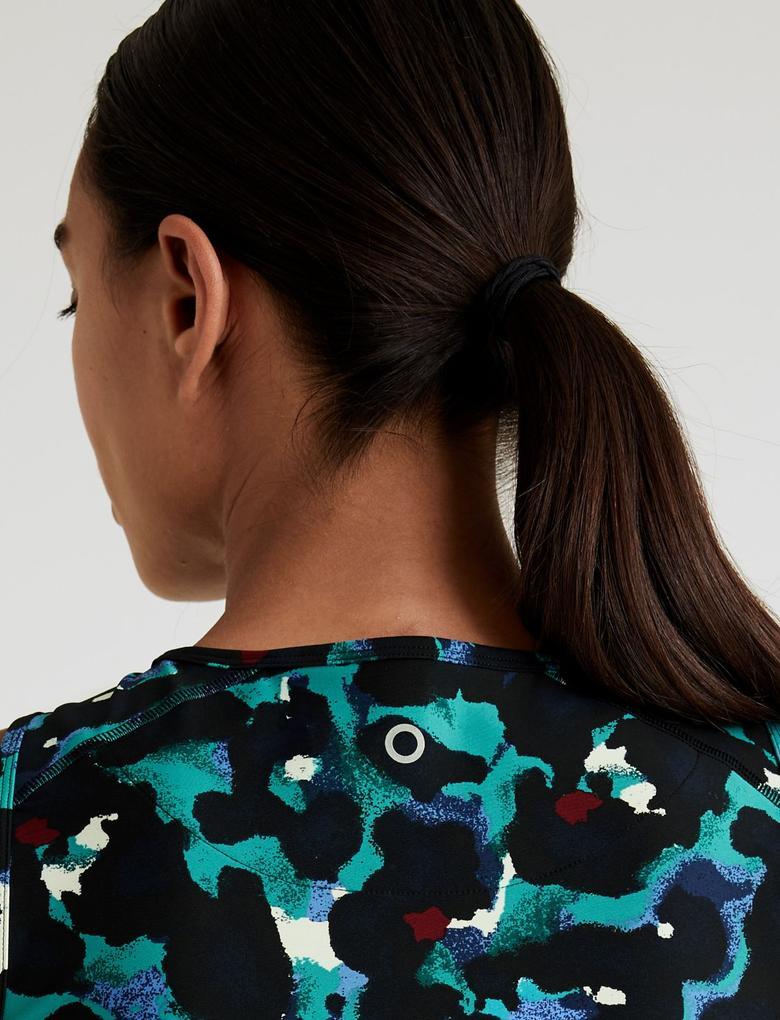 Kadın Yeşil Desenli Crop Bluz