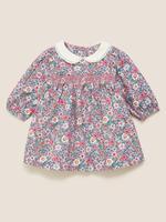 Bebek Pembe Çiçek Desenli Elbise ve Külotlu Çorap Takımı