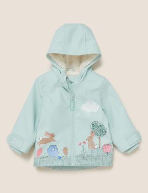 Bebek Mavi Tavşan Baskılı Balıkçı Montu (Stormwear™ Teknolojisi ile)