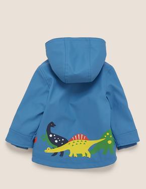 Bebek Mavi Dinozor Baskılı Balıkçı Montu (Stormwear™ Teknolojisi ile)