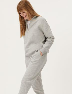 Kadın Gri Yarım Fermuarlı Sweatshirt