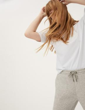 Kadın Beyaz Saf Pamuklu Slogan T-Shirt