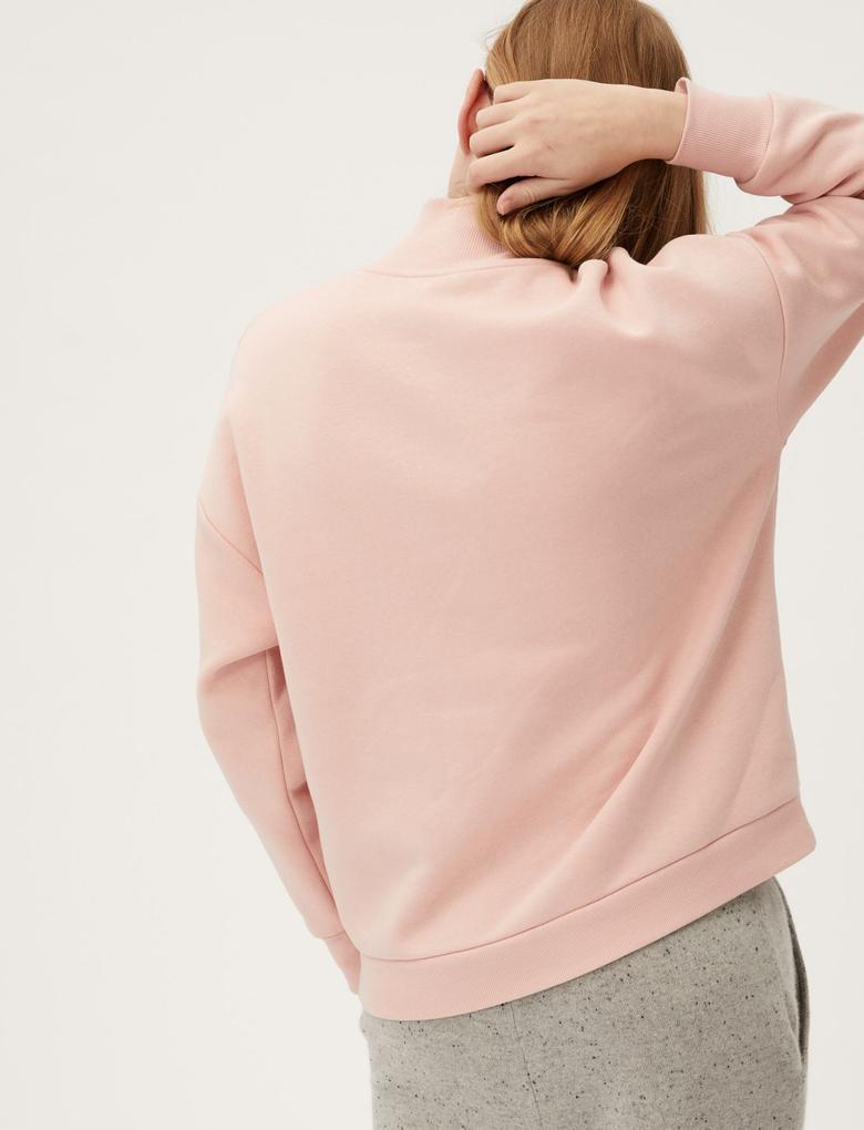 Kadın Pembe Yarım Fermuarlı Sweatshirt