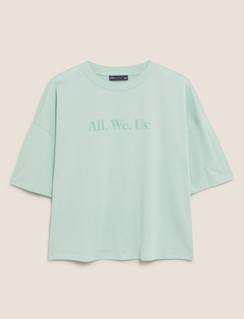 Kadın Yeşil Saf Pamuklu Slogan T-Shirt