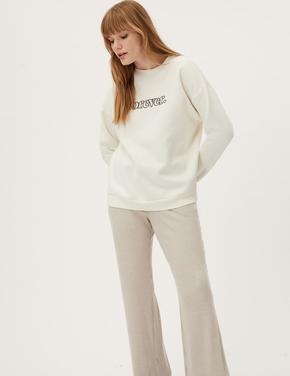 Kadın Bej Yuvarlak Yaka Slogan Sweatshirt
