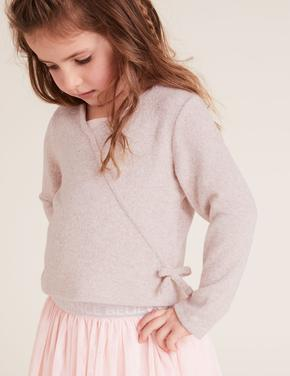 Kız Çocuk Pembe Uzun Kollu Anvelop Bluz