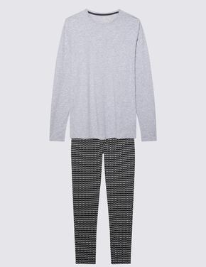 Erkek Gri Desenli Pijama Takımı