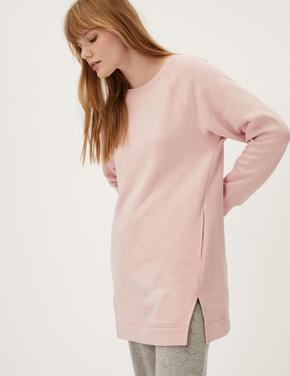 Kadın Pembe Uzun Kollu Tunik Sweatshirt