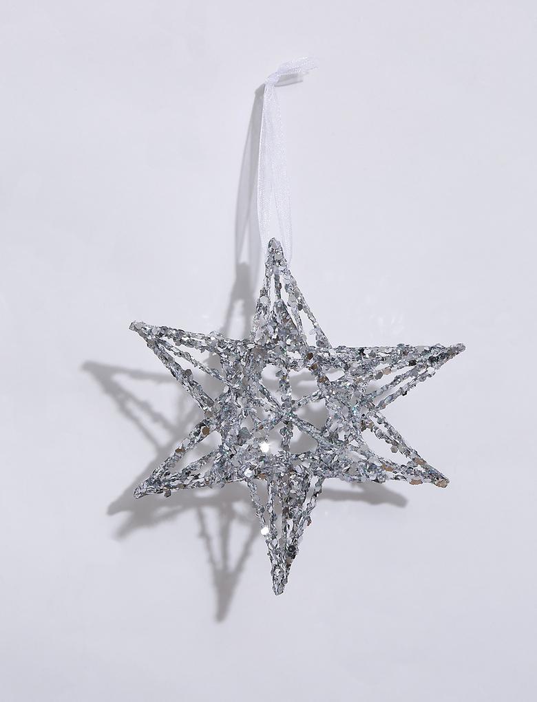 Ev Gümüş Gümüş Rengi Yıldız Çam Ağacı Süsü