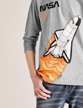 Erkek Çocuk Gri NASA™ Uzun Kollu Bluz