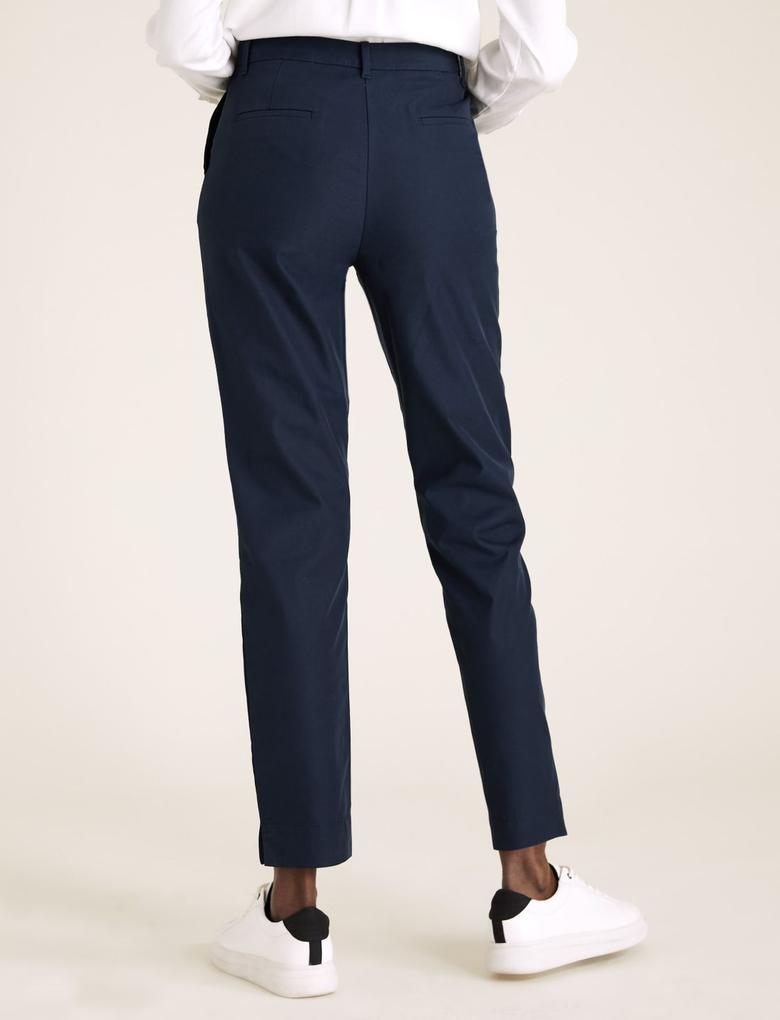 Kadın Lacivert Pamuklu Straight Leg Chino Pantolon